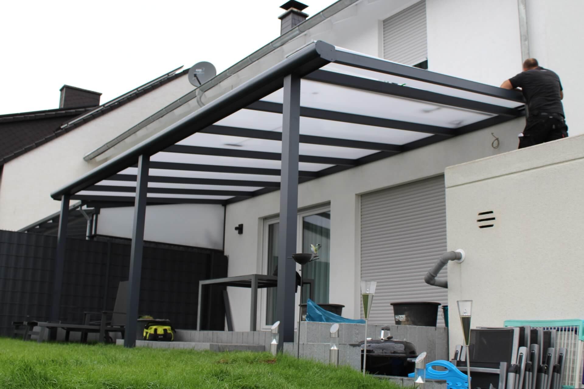 Terrassenuberdachung Mit 16mm Polycarbonatplatten Bek Bauelemente